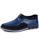 New              Men Microfiber Leather Splicing Non Slip Slip On Business Casual Shoes