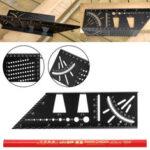New              Multifunction Square Ruler 45 Degree 90 Degree Line Angle Rulers Gauge Kit
