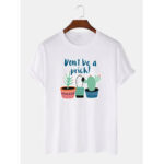 New              Men 100% Cotton Cartoon Cactus Printed Casual Short Sleeve T-Shirts