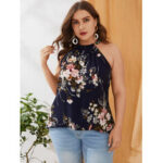 New              Plus Size Backless Design Floral Print Halter Sleeveless Tank Top