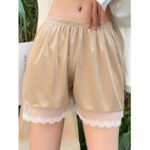 New              Lace Trim Seamless Smooth Butt Lifter Mid Waisted Safety Short Pants