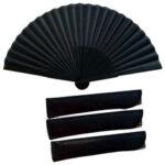 New              38 x 21cm Folding Fan Black Vintage Hand Fan Handheld Fan Chinese Style for Outdoor Travel Wedding Dancing Gift
