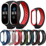 New              Bakeey Double Color Silicone Watch Strap for Xiaomi mi band 5 Smart Watch