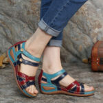 New              LOSTISY Women Color Block Opened Toe Buckle Light Wedges Sandals