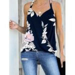 New              Vintage Floral Print Halter V-neck Sleeveless Wrap Tank Top