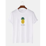 New              Cartoon Pineapple Pattern Letter Print Cotton Short Sleeve T-Shirts