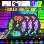 New              49FT 15M RGB LED Strip Light 3528 Waterproof/Non-waterproof Flexible Tape Lamp DC12V + 44Keys Remote Control + Power Supply