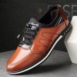 New              Men Microfiber Leather Comfy Non Slip Elastic Lace Business Casual Shoes