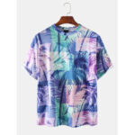 New              Cotton Mens Colorful Tropical Plant Leaves Print Holiday Short Sleeve T-Shirts