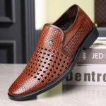 New              Men Microfiber Leather Hole Non Slip Breathable Business Casual Formal Shoes