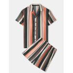 New              Banggood Designed Mens Colorful Striped Breathable Shirts Elastic Waist Casual Shorts