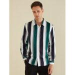 New              Banggood Design Men Colorful Stripe Lane Print Long Sleeve Shirts
