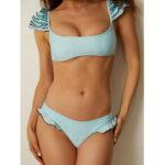 New              Women Solid Color Sweet Bikini Multi-Layers Ruffles Sweet Swimwear