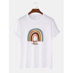 New              Rainbow & Letter Print Round Neck Short Sleeve Cotton Loose T-Shirts