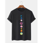 New              Colorful Planet Print 100% Cotton Breathable Short Sleeve T-Shirts