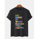 New              100% Cotton Colorful Slogan Print Short Sleeve Breathable T-Shirts
