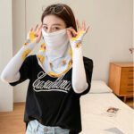 New              Women Sunscreen Summer Outdoor Ice Silk Hand Sleeve Arm Guard Sleeve Breathable Cover Face Veil Mask