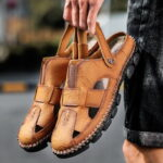 New              Men Hand Stitching Cowhide Leather Non Slip Outdoor Casual Sandals
