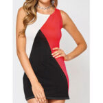New              Sleeveless Design Round Neck Contrast Color Mini Dress
