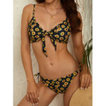 New              Sunflowers Floral Bikini Tie Front String Bandage Spaghetti Straps Swimwear For Women