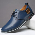 New              Men Pure Color Microfiber Leather Non Slip Business Casual Shoes