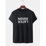 New              Mens Letter Slogan Round Neck Casual Short Sleeve T-Shirts