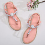 New              Women Beading Decor Elastic Flat Slip On Beach Clip Toe Sandals