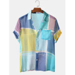 New              Color Block Light Breathable Chest Pocket Short Sleeve Soft Casual Shirts