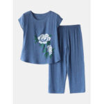 New              Women Flowers Print Plus Size Pajamas Loose Short Sleeve Loungewear
