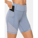 New              Plus Size Women Dry Quickly Solid Color Biker Sport Shorts With Pocket