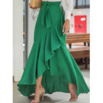 New              Solid Color High Waist Ruffle High Low Hem Swing Maxi Skirts For Women