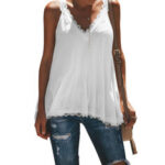 New              Casual Summer V-neck Lace Patchwork Sleeveless Tank Top