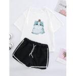 New              Cats Print Pajamas Set Outwork Drawstring Sports Shorts Sleepwear