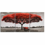 New              3 Pcs Wall Decorative Paintings Red Tree Canvas Print Art Pictures Frameless Wall Hanging Decorations for Home Office