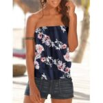 New              Vintage Floral Print Strapless Sleeveless Holiday Beach Tube Tank Top
