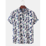 New              Holiday Style Mens Floral Print Lapel Collar Casual Short Sleeve Shirts