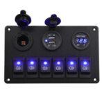New              6 Gang Blue LED Rocker Switch Panel Car Marine Boat Circuit Dual USB Waterproof