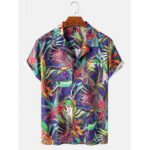 New              Mens Various Plants Print Chest Pocket Casual Short Sleeve Shirts With Pocket