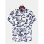 New              Mens Tropical Style Hawaii Beach Landscape Casual Short Sleeve Shirts