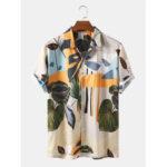 New              Banggood Designed Mens Tropical Floral Print Breathable Short Sleeve Casual Shirts