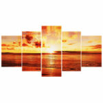 New              5Pcs Sunset Wall Decorative Paintings Canvas Print Art Pictures Frameless Wall Hanging Decorations for Home Office