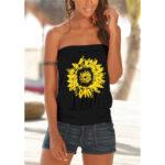 New              Sunflower Print Strapless Sleeveless Summer Casual Cami For Women