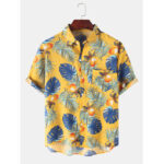 New              Mens Tropical Plant Leaf Print Light Casual Short Sleeve Shirts