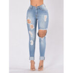 New              Casual Women Pocket Hollow Ripped Long Denim Jeans