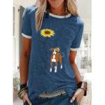 New              Cartoon Floral Dog Printed Short Sleeve Casual Loose T-shirt