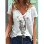 New              Butterfly And Cat Cartoon Printed Funny Short Sleeve Women Casual Blouse