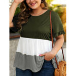 New              Plus Size Women Hit Color Patchwork Ruffle Sleeve Daily Causal Blouse
