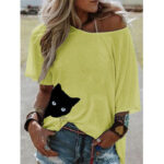 New              Cat Print Women Summer Short Sleeve Loose Daily Casual Blouse
