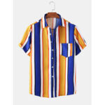 New              Colorful Vertical Stripe Lane Print Patch Pocket Short Sleeve Casual Holiday Shirts