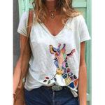 New              Cartoon Giraffe Animal Print V-neck Short Sleeve Loose T-shirts For Women